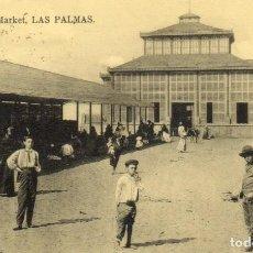 Postales: POSTAL ANTIGUA -MARKET- LAS PALMAS -CIRCULADA Y DIVIDIDA. Lote 263044795