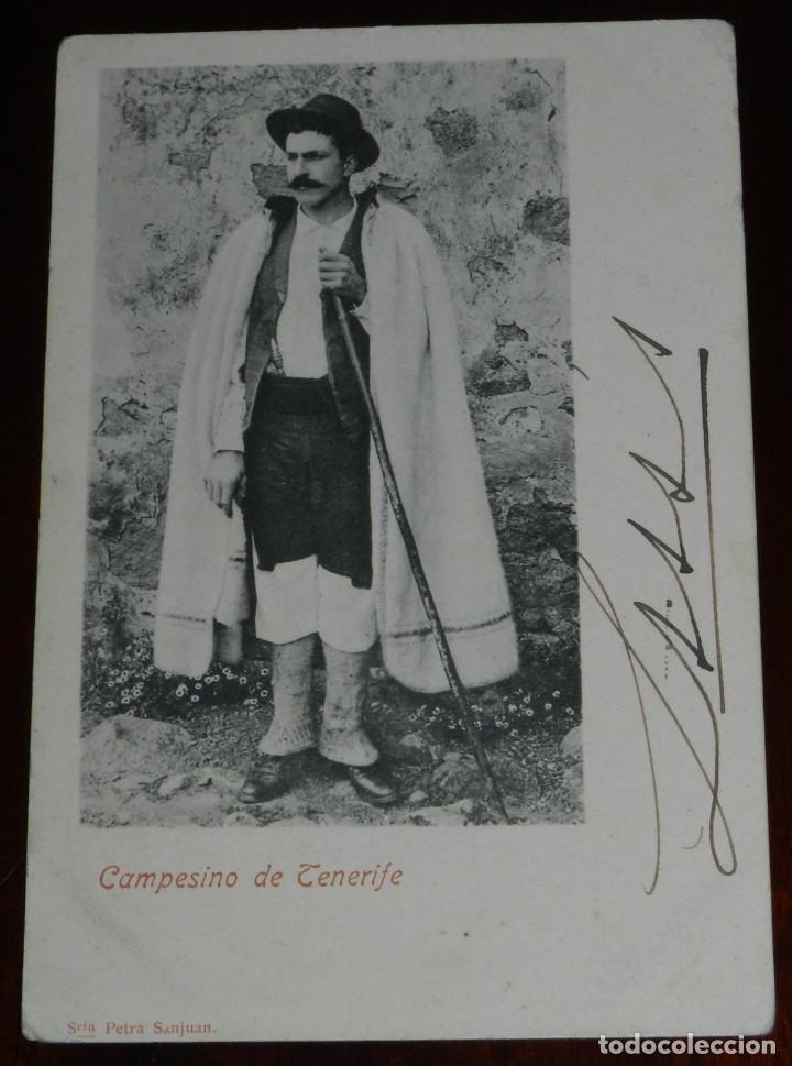 ANTIGUA POSTAL DE CAMPESINO DE TENERIFE - NO CIRCULADA - SIN DIVIDIR - ED. PETRA SANJUAN. (Postales - España - Canarias Antigua (hasta 1939))