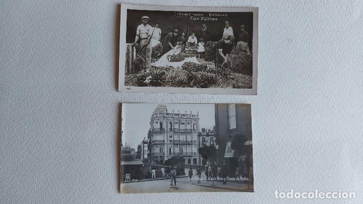 R-80.- LOTE DE -- 2 -- POSTALES FOTOGRAFICAS DE -- LAS PALMAS .- EMPAQUETANDO BANANAS Y C/ DE MURO (Postales - España - Canarias Antigua (hasta 1939))