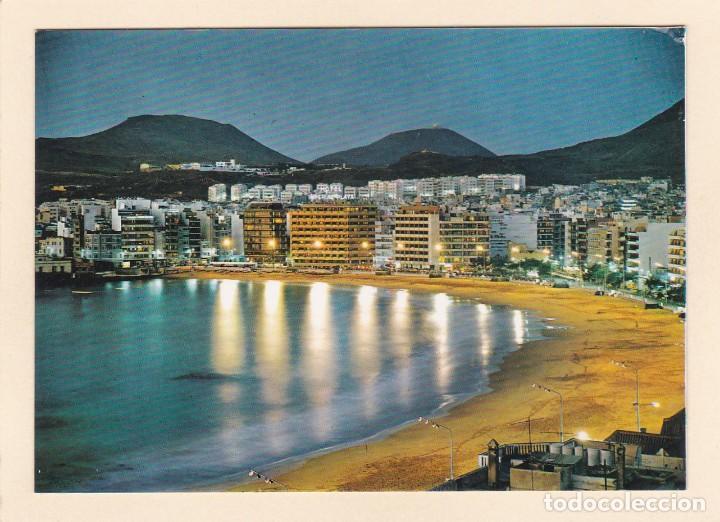 LAS PALMAS DE GRAN CANARIA. VISTA NOCTURNA DE LA PLAYA DE LAS CANTERAS (1972) (Postales - España - Canarias Moderna (desde 1940))