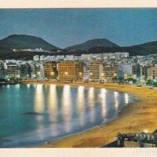 Postales: LAS PALMAS DE GRAN CANARIA. VISTA NOCTURNA DE LA PLAYA DE LAS CANTERAS (1972). Lote 270168113