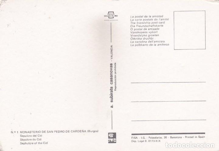 Postales: MONASTERIO DE SAN PEDRO DE CARDEÑA (BURGOS). SEPULCRO DEL CID (1976) - Foto 2 - 270168383