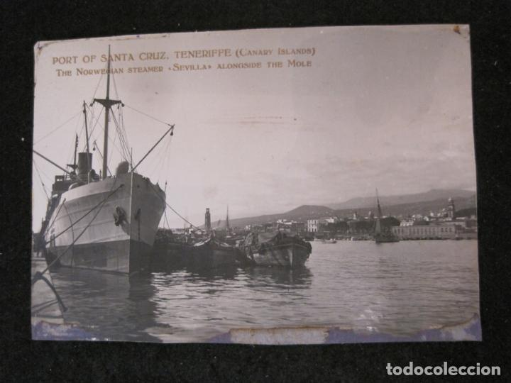 SANTA CRUZ DE TENERIFE-PUERTO-THE NORWEGIAN STEAMER SEVILLA-FOTOGRAFIA ANTIGUA-(82.594) (Postales - España - Canarias Antigua (hasta 1939))