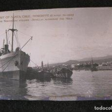 Postales: SANTA CRUZ DE TENERIFE-PUERTO-THE NORWEGIAN STEAMER SEVILLA-FOTOGRAFIA ANTIGUA-(82.594). Lote 275314278
