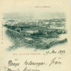 Postais: SANTA CRUZ DE TENERIFE. VISTA GENERAL. CIRCULADA 1898 A ESTOCOLMO DOS PELONES.SHIP LETTER MUY RARA.. Lote 275963328