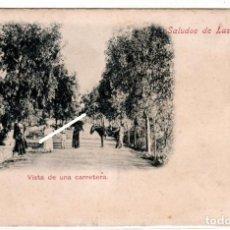Postales: MAGNIFICA POSTAL - SALUDOS DE LAS PALMAS - VISTA DE UNA CARRETERA - C. NANSON - PHOTOGRAPH. Lote 284796658