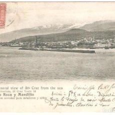Postales: TENERIFE GENERAL VIEW OF STA CRUZ FROM THE SEA.SALÓN MODERNISTA ARTURO ROCA Y MANDILLO. Lote 286470088