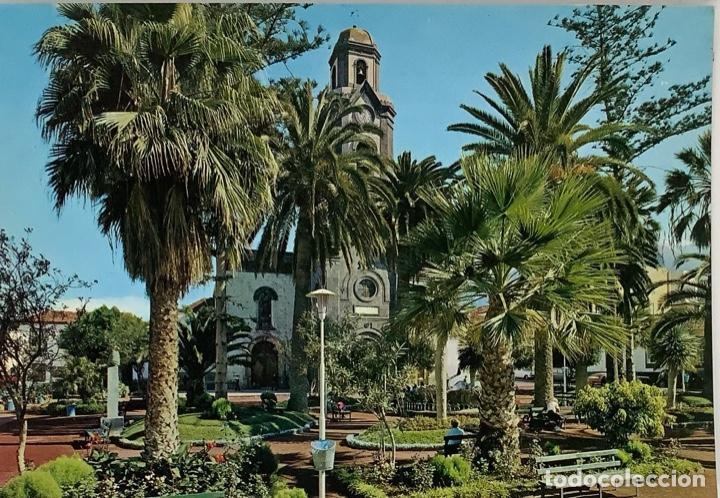 TENERIFE, PUERTO DE LA CRUZ. PLAZA PEÑA DE FRANCIA. GLOBAL TRADERS. SELLO 1973 (Postales - España - Canarias Moderna (desde 1940))