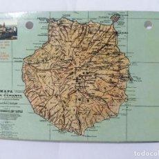 Postales: POSTAL, MAPA DE GRAN CANARIA, LA CORUÑA 1916, CIRCULADA. Lote 288862468