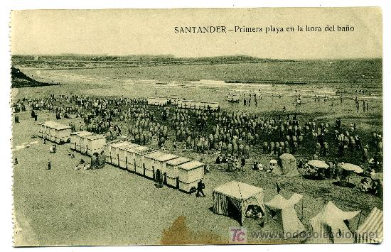 SANTANDER - PRIMERA PLAYA EN LA HORA DEL BAÑO - ED. V. POBLADOR (NUEVA SIN USAR) (Postales - España - Cantabria Antigua (hasta 1.939))