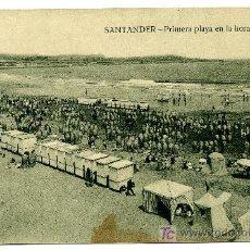 Postales: SANTANDER - PRIMERA PLAYA EN LA HORA DEL BAÑO - ED. V. POBLADOR (NUEVA SIN USAR). Lote 26615980