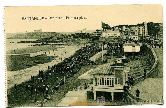 SANTANDER - SARDINERO - PRIMERA PLAYA- ED. V. POBLADOR (NUEVA SIN USAR) (Postales - España - Cantabria Antigua (hasta 1.939))