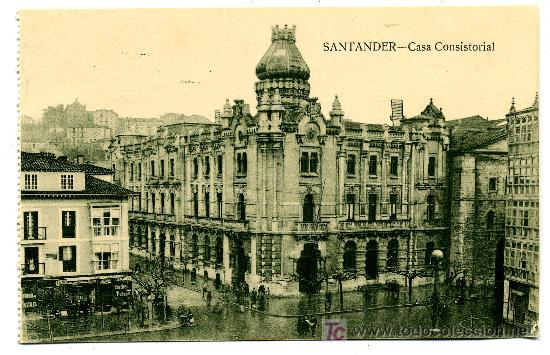 SANTANDER - CASA CONSISTORIAL- ED. V. POBLADOR (NUEVA SIN USAR) (Postales - España - Cantabria Antigua (hasta 1.939))