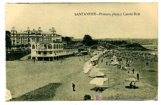 SANTANDER - PRIMERA PLAYA Y CASETA REAL- ED. V. POBLADOR (NUEVA SIN USAR) (Postales - España - Cantabria Antigua (hasta 1.939))