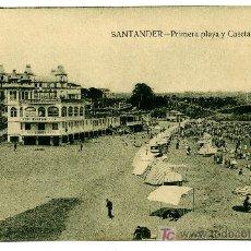Postales: SANTANDER - PRIMERA PLAYA Y CASETA REAL- ED. V. POBLADOR (NUEVA SIN USAR). Lote 23157648