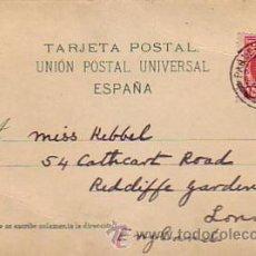 Postales: ALFONSO XIII CADETE EN TARJETA CIRCULADA 1907 (PAQUEBOT PLYMOUTH) LAS PALMAS (CANARIAS) A INGLATERRA. Lote 24809250