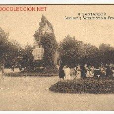 Postales: TARJETA POSTAL DE SANTANDER, Nº 8. JARDINES Y MONUMENTO A PEREDA. Lote 4113026