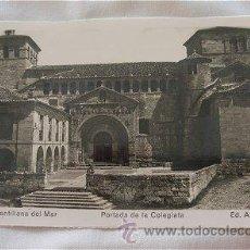Postales: POSTAL ANTIGUA DE SANTILLANA DEL MAR PORTADA DE LA COLEGIATA. Lote 11809253