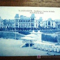 Postales: POSTAL ANTIGUA CANTABRIA SANTANDER. SARDINERO. CASETAS DE BAÑO FAMILIA REAL Nº33. . Lote 25991377