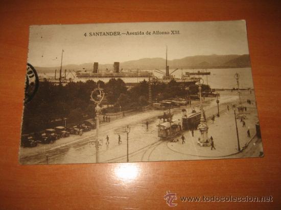 4.-SANTANDER-AVENIDA DE ALFONSO XIII CIRCULADA 1928 SANTANDER-INFIESTO (Postales - España - Cantabria Antigua (hasta 1.939))