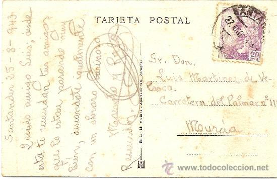 Postales: SANTANDER - PLAYA DEL SARDINERO - M. ARRIBAS - CIRCULADA 1943 - Foto 2 - 16586878