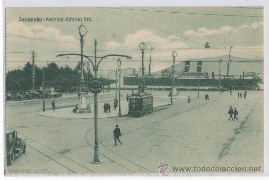 TARJETA POSTAL DE SANTANDER AVENIDA ALFONSO XIII TRANVIA SASTREIRA CARAYO BARCO CANTABRIA (Postales - España - Cantabria Antigua (hasta 1.939))