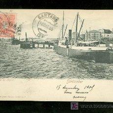 Postales: TARJETA POSTAL ANTIGUA DE SANTANDER. MUELLE DE MAURA. ROMMLER & JONAS. . Lote 17231312