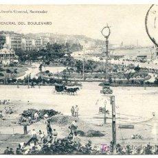 Postales: SANTANDER VISTA GENERAL DEL BOULEVARD (CON OBRAS). PROPIEDAD LIBRERÍA GENERAL (FALTA EL SELLO). Lote 25705235