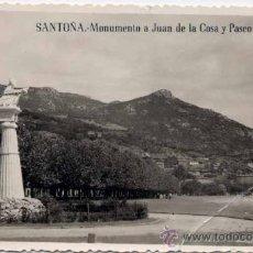 Postales: SANTOÑA (CANTABRIA).- MONUMENTO A JUAN DE LA COSA Y PASEO DE PEREDA. Lote 22694861