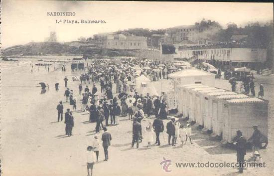 SANTANDER-SARDINERO.- 1ª PLAYA.-BALNEARIO (Postales - España - Cantabria Antigua (hasta 1.939))