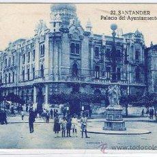 Postales: TARJETA POSTAL ESPAÑA MODERNA 1.940, Nº 22, SANTANDER, PALACIO DEL AYUNTAMIENTO. Lote 22945704