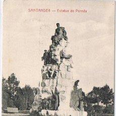 Postales: TARJETA POSTAL ESPAÑA MODERNA 1.940, SANTANDER, ESTATUA DE PEREDA. Lote 22946565