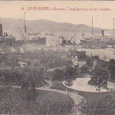 Postales: BARCOS: GRANDES TRASATLANTICOS EN LOS MUELLES DE SANTANDER 1919. POSTAL Nº 5 EDICION J. PALACIOS CIR. Lote 23425702