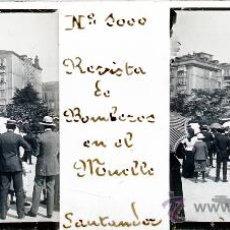 Postales: ANTIGUA FOTOGRAFIA ESTEREOSCOPICA DE CRISTAL DE SANTANDER - REVISTA DE BOMBEROS EN EL MUELLE - MIDE . Lote 25629675