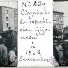 Postales: ANTIGUA FOTOGRAFIA ESTEREOSCOPICA DE CRISTAL DE SANTANDER - LLEGADA DE LA EXPEDICION GIJONESA A SANT. Lote 27267994
