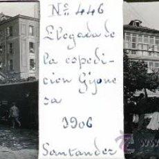 Postales: ANTIGUA FOTOGRAFIA ESTEREOSCOPICA DE CRISTAL DE SANTANDER - LLEGADA DE LA EXPEDICION GIJONESA A SANT. Lote 27267995