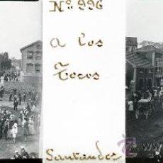 Postales: ANTIGUA FOTOGRAFIA ESTEREOSCOPICA DE CRISTAL DE SANTANDER - A LOS TOROS - MIDE 10,7 X 4,4 CMS. TAL C. Lote 27267997