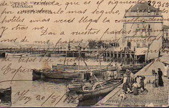 MUY BUENA POSTAL DE SANTANDER LANCHAS TRAINERAS DE LIBRERIA M,ALBIRA 1913 (Postales - España - Cantabria Antigua (hasta 1.939))