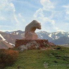 Postales: PICOS DE EUROPA Nº 56 PUERTO DE SAN GLORIO MONUMENTO AL OSO ESCRITA CIRCULADA SELLO SICILIA. Lote 27430956