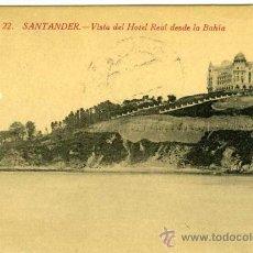 Postales: POSTAL SANTANDER VISTA DEL HOTEL REAL DESDE LA BAHIA. Lote 29029125