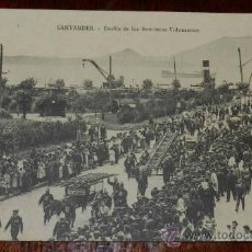 Postales: ANTIGUA POSTAL DE SANTANDER, CANTABRIA, DESFILE DE LOS BOMBEROS VOLUNTARIOS, LIBRERIA CATOLICA V. OR. Lote 29343723