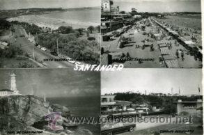 SANTANDER.- POSTAL MOSAICO 4 VISTAS.- EDICIONES SICILIA Nº 47.- FOTOGRÁFICA. (Postales - España - Cantabria Moderna (desde 1.940))