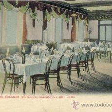 Postales: POSTAL 1900 COLOREADA BALNEARIO DE SOLARES - COMEDOR DEL GRAN HOTEL - SANTANDER - CANTABRIA -RARA. Lote 30584162