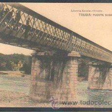 Postales: TARJETA POSTAL DE ASTURIAS - TRUBIA: PUENTE SOBRE EL NALON. LIBRERIA ESCOLAR. FOT. HAUSER Y MENET . Lote 30992050
