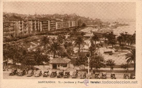 LOTE 5 POSTALES SANTANDER JARDINES Y PASEO PEREDA. PIQUÍO. PLAYA Y PENÍNSULA DE LA MAGDALENA. (Postales - España - Cantabria Antigua (hasta 1.939))