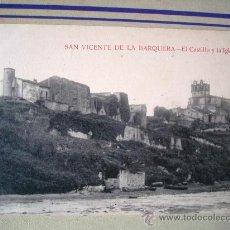 Postales: POSTAL ANTIGUA SAN VICENTE DE LA BARQUERA. EL CASTILLO Y LA IGLESIA. . Lote 32663274