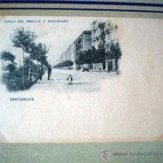 Postales: POSTAL ANTIGUA SANTANDER. CALLE DEL MUELLE Y BOULEVARD. HAUSER MENET. DORSO SIN DIVIDIR. . Lote 32663305