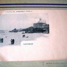 Postales: POSTAL ANTIGUA SANTANDER. PRIMERA PLAYA DEL SARDINERO Y CAPILLA. HAUSER MENET. DORSO SIN DIVIDIR. . Lote 32663320