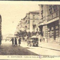 Postales: SANTANDER.- CALLES DE AMÓS DE ESCALANTE Y BURGOS. Lote 32922077