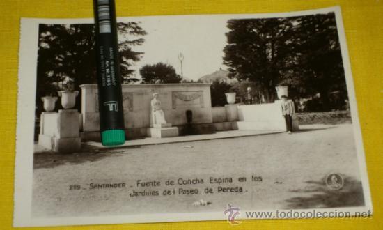 POSTAL FOTOGRAFICA NUM 2119., SANTANDER., FUENTE CONCHA ESPINA,EN PASEO PEREDA – EDICIONES UNIQUE (Postales - España - Cantabria Antigua (hasta 1.939))